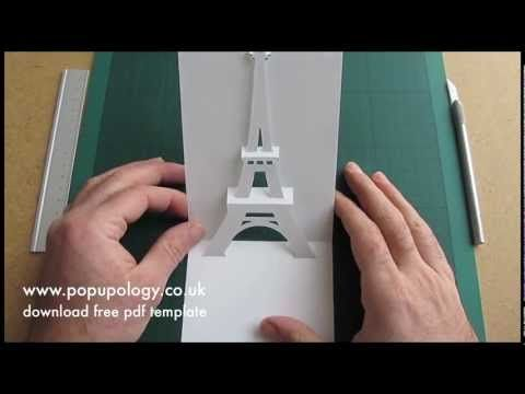 Pop Up Eiffel Tower Card Tutorial Origamic Architecture Youtube Template Here Http Www Popupology Co Uk Uploads It Card Tutorial Pop Up Cards Paper Pop