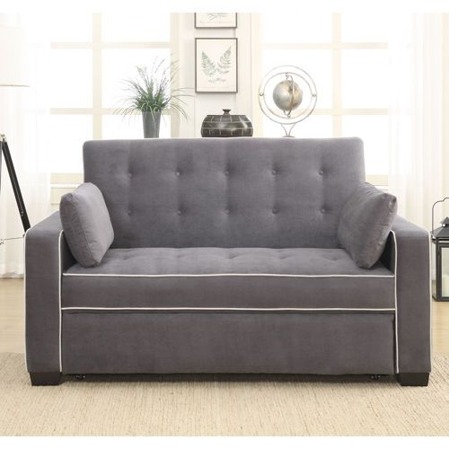 Westport Fabric Sleeper Loveseat Charcoal Gray