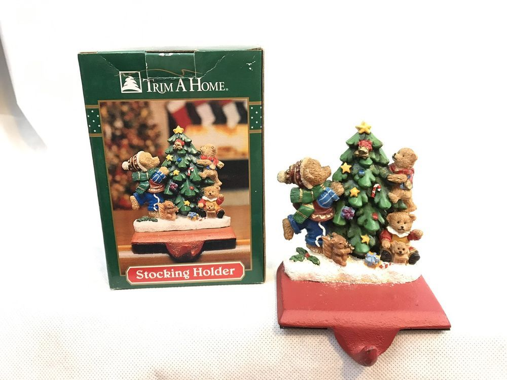 Trim A Home Bears Decorating Christmas Tree Cast Iron Stocking Holder Collectible Christmas Decorations Ornaments Christmas Tree Decorations Stocking Holders