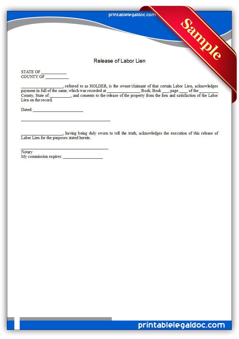 Printable Release Of Labor Lien Template Letter Form