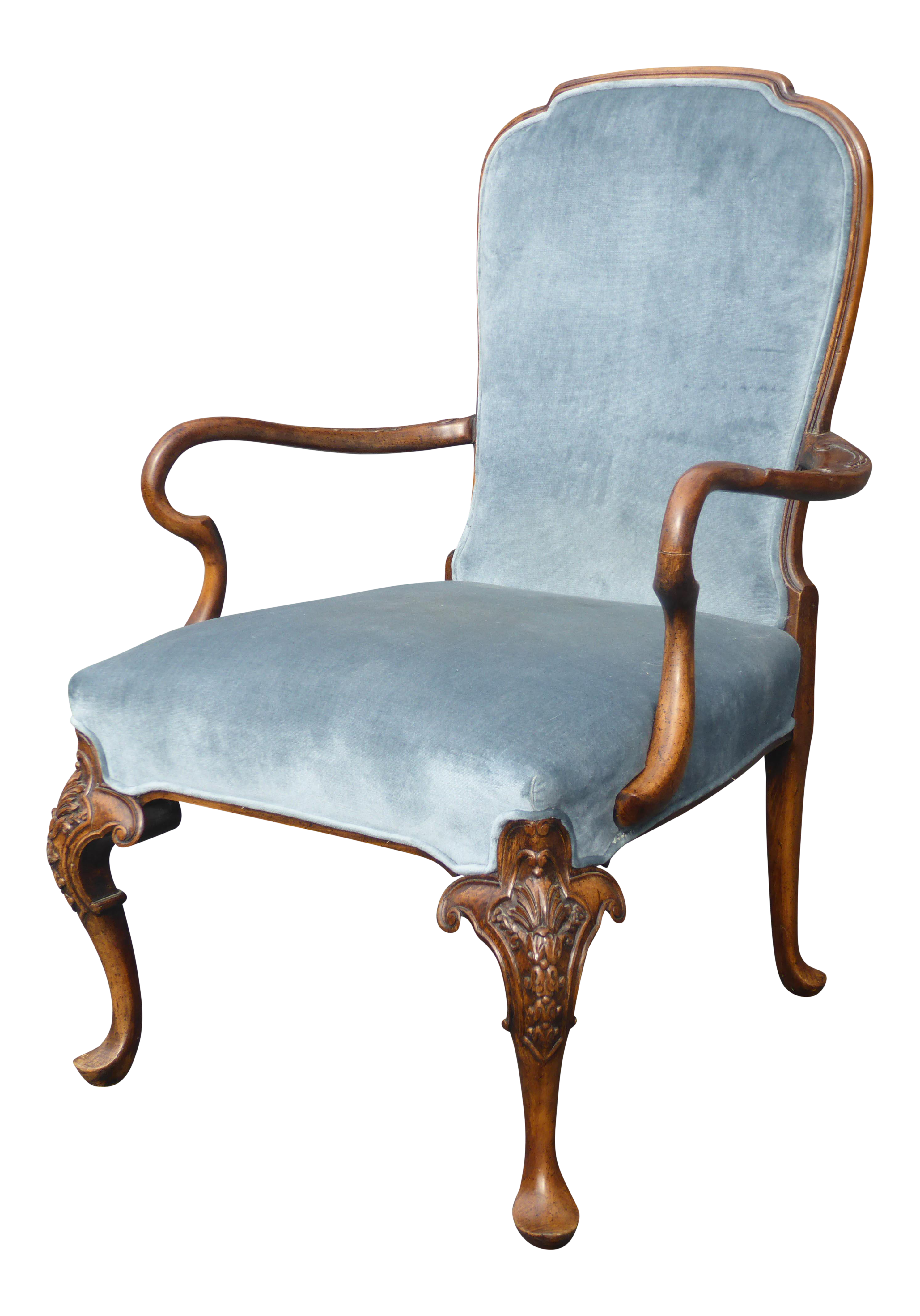 French Provincial Chair >> Vintage French Provincial Blue Fauteuil Chair On Chairish Com