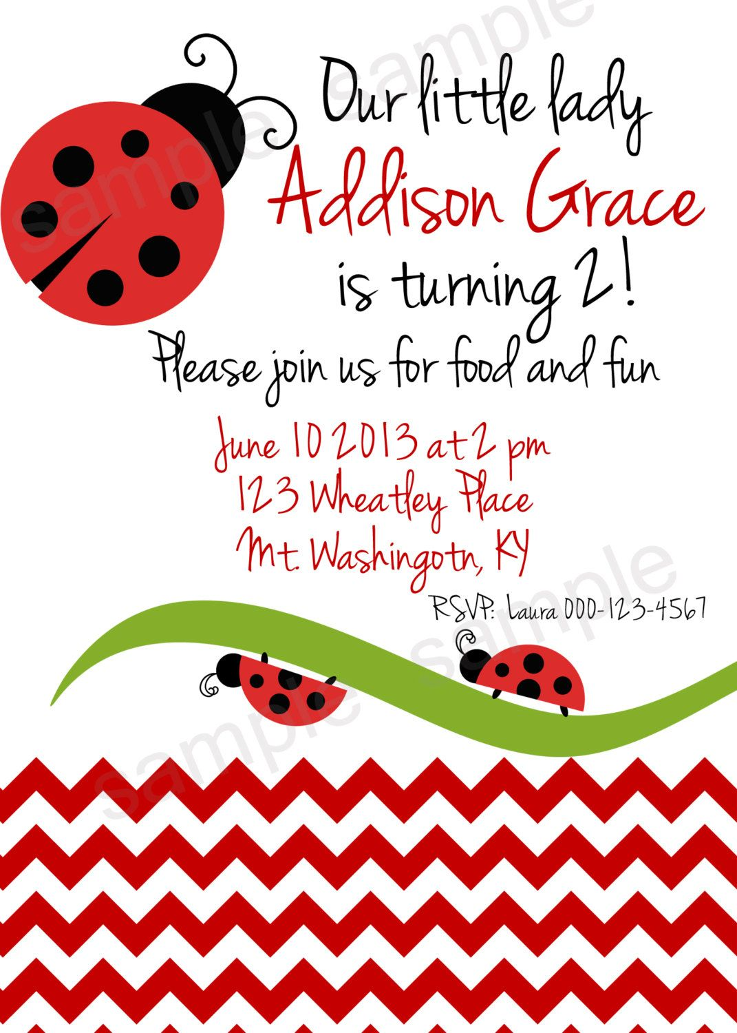 Our Little Lady birthday printable 5x7 party invitation. $7.00, via ...