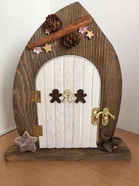 Pre order gingerbread lodge wooden elf and fairy door for Wooden elf door