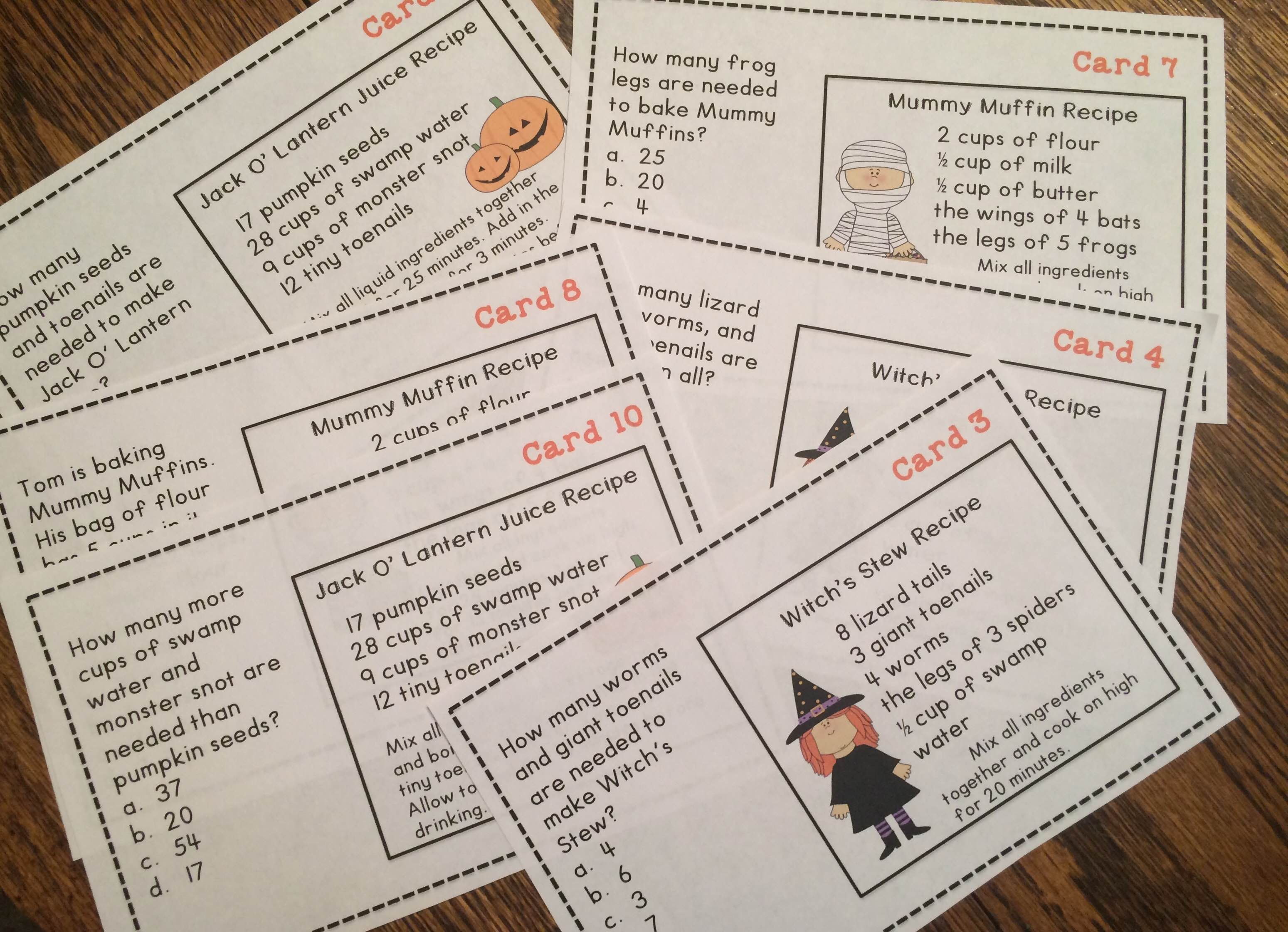Halloween Word Problems Math Task Cards With Images