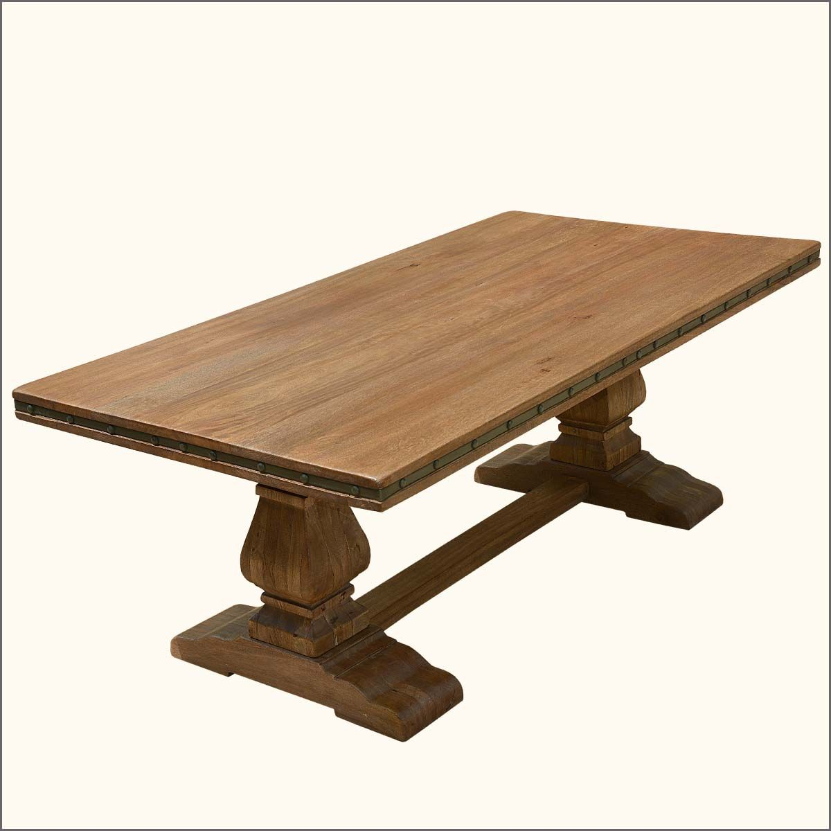 Gorgeous Wood Dining Table Pedestal Base With Dropdead Rustic Trestle