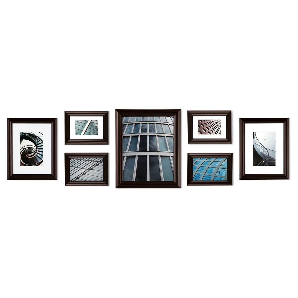 Gallery Perfect 7 Piece Multi-Size Wall Frame Set - Walnut | Wall ...