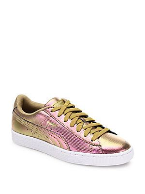 749fe022db6 PUMA Basket Holographic Leather Sneakers