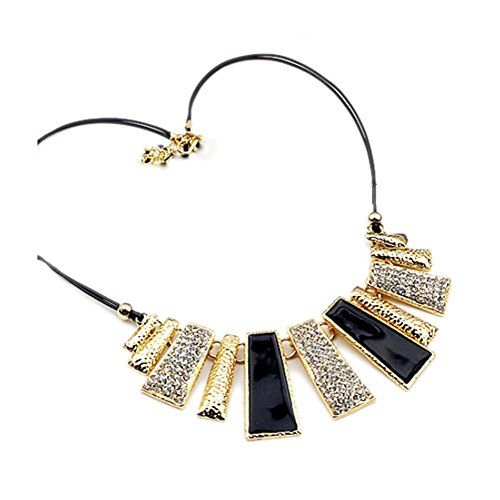YAZILIND Women Necklace Rhinestone Gold Tone Chain Boho Ethnic Vintage Colorful Collar Statement Clavicle Choker