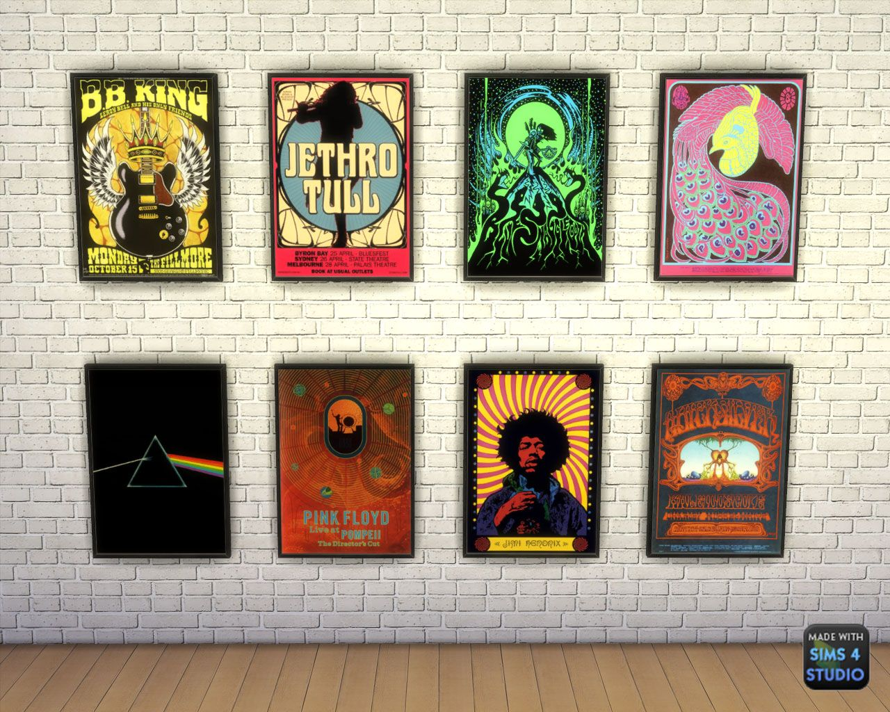 Sims 4 - Rock Posters 25 swatches Mesh by BLACK #s4rocker #wallart