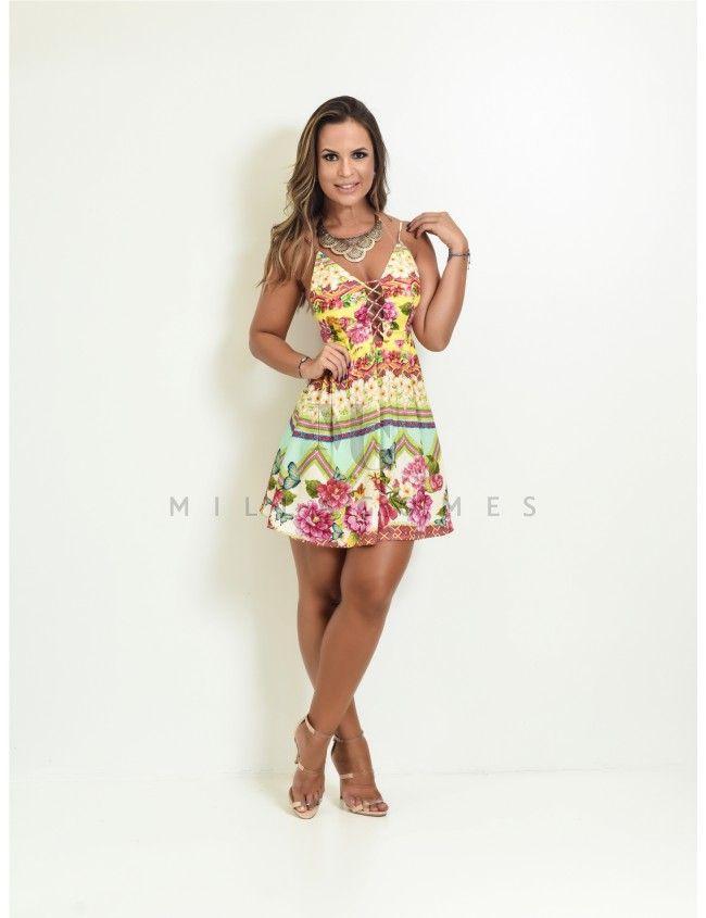 10039728d Vestido Curto Estampado Colombiana Farm   vestidinhos   Vestidos ...