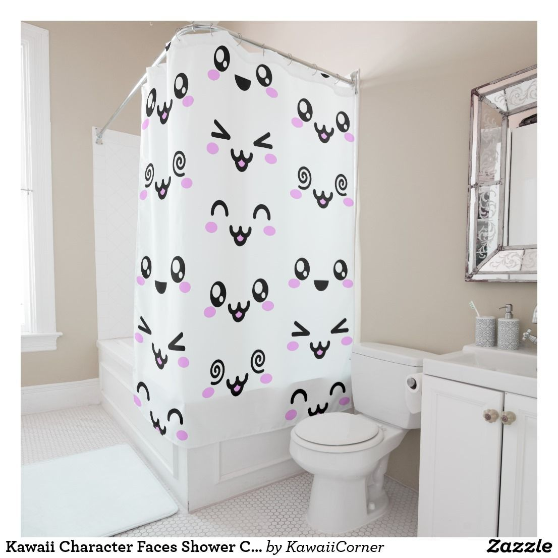 Th E Cutest Shower Curtain Ever Kawaii Character Faces Shower