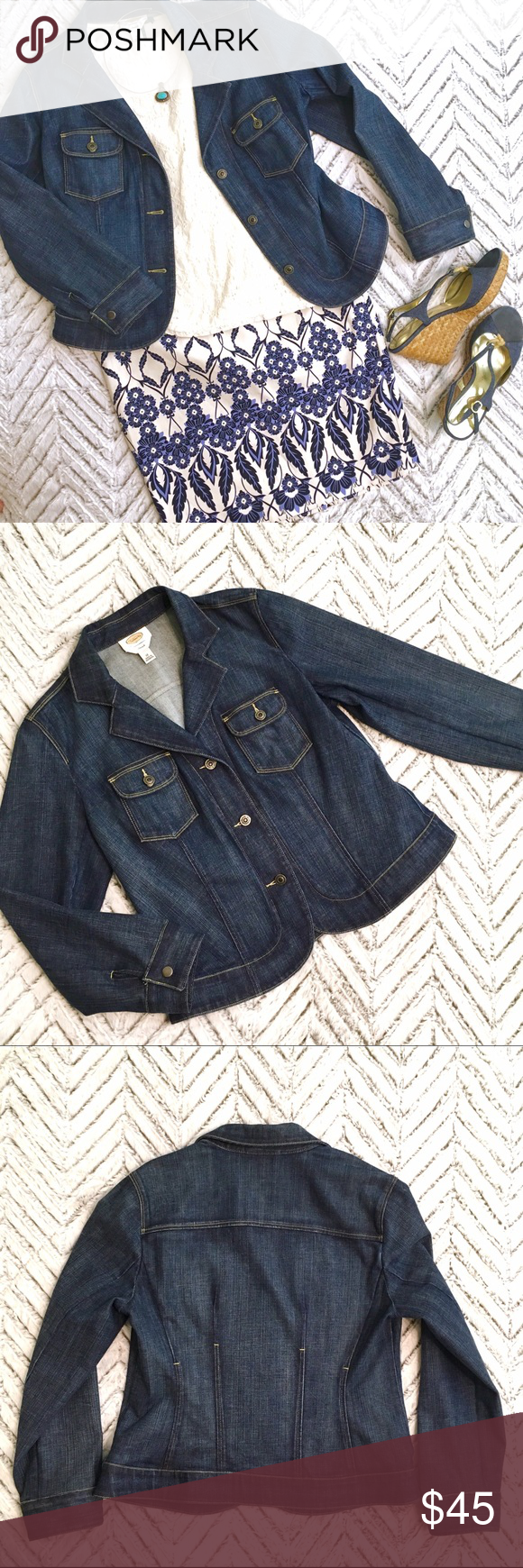 Talbot's Stretch Jean Jacket, Size 12 Beautiful Like New Talbot's Stretch Jean Jacket, Size 12. Lovely shaping seams, two front pockets, button closure. Talbots Jackets & Coats Jean Jackets