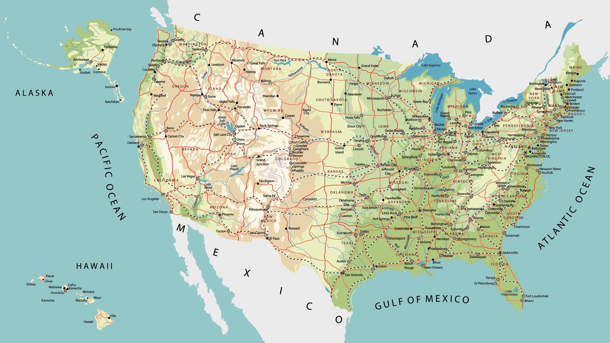Mapa De Carreteras De Estados Unidos Mapas Del Mundo Pinterest - Mapa de united states