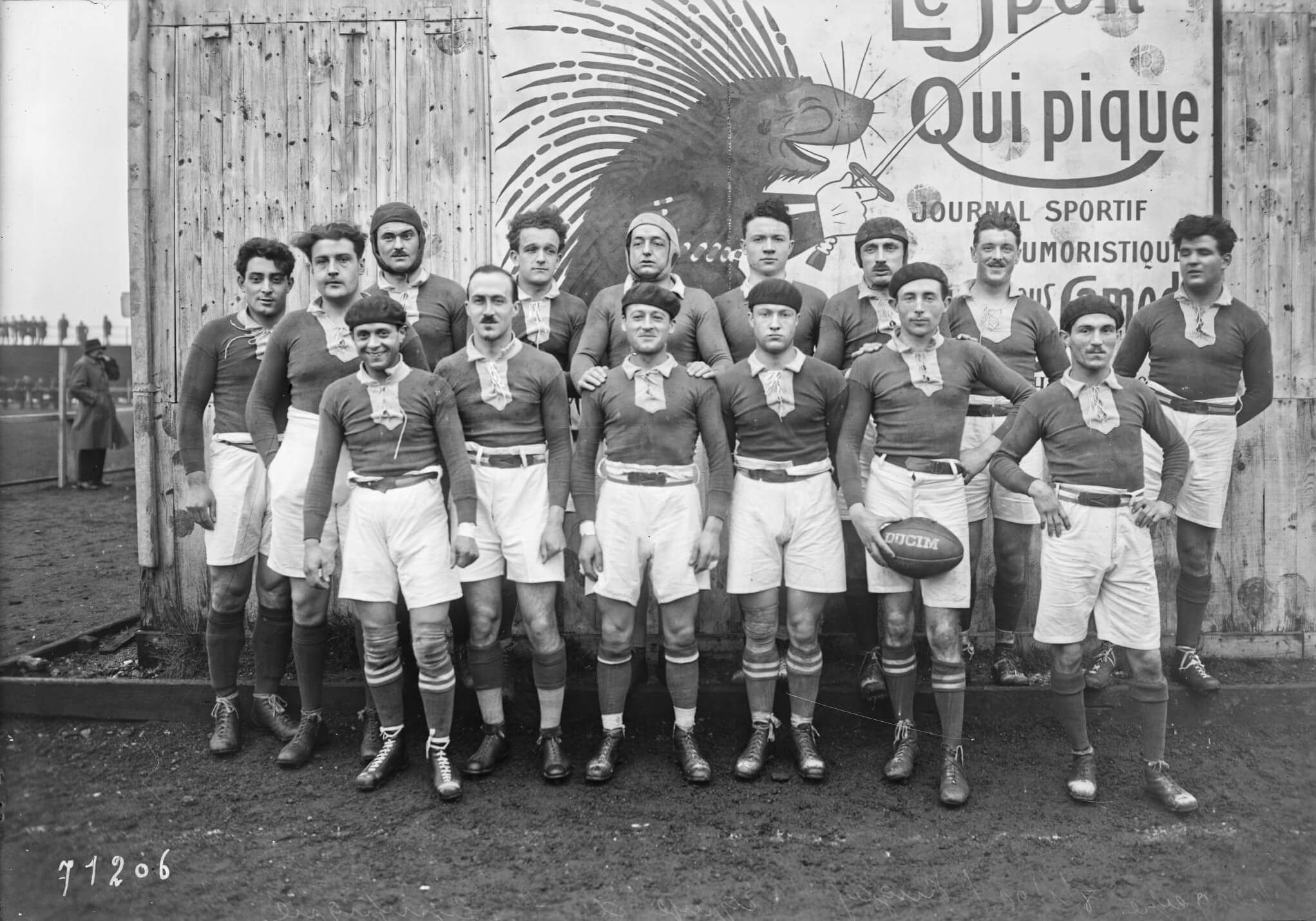 French rugby Olympic team. Photograph by Rol agency, 1922