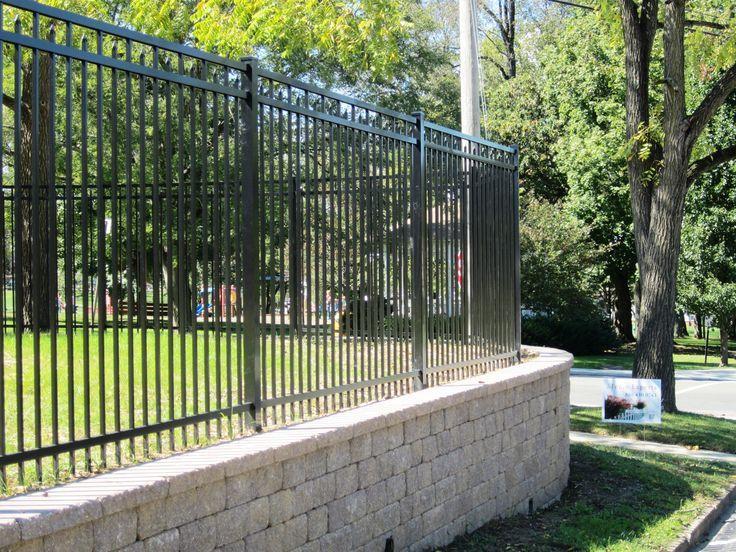6 39 Tall Black Aluminum Fence Along Retaining Wall Backyard Fences Fence Landscaping Aluminum Fence