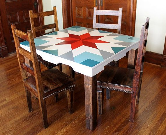 Wood Dining Table Barn Quilt Table Barn By Wickerhillworkshop Unique Dining Room Table Wood Dining Table Barn Quilt Designs