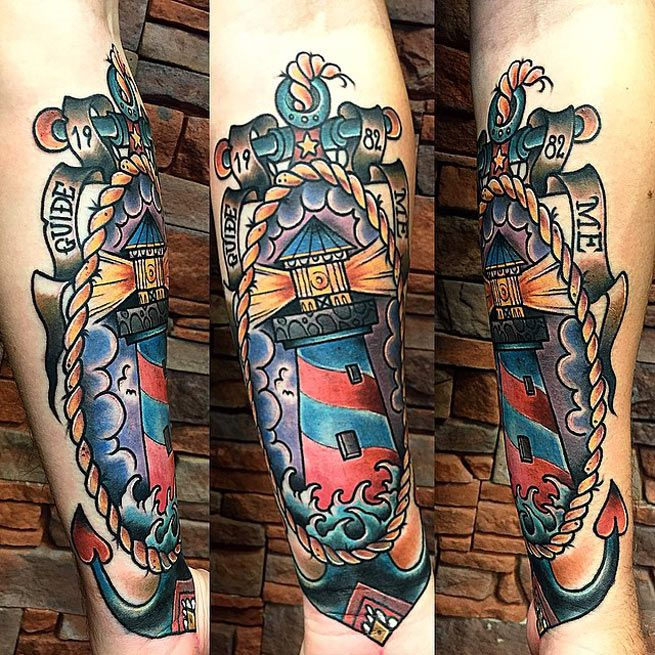Lighthouse American Traditional Tattoo: Old School Lighthouse Tattoo