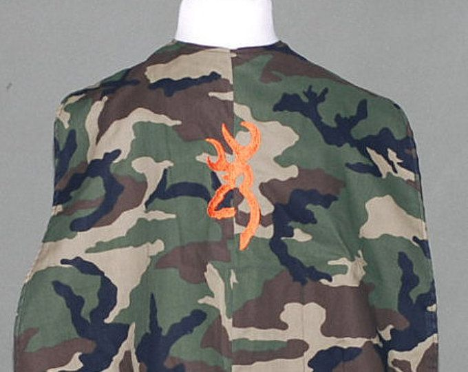 Camo youth cape with deer embroidered head logo