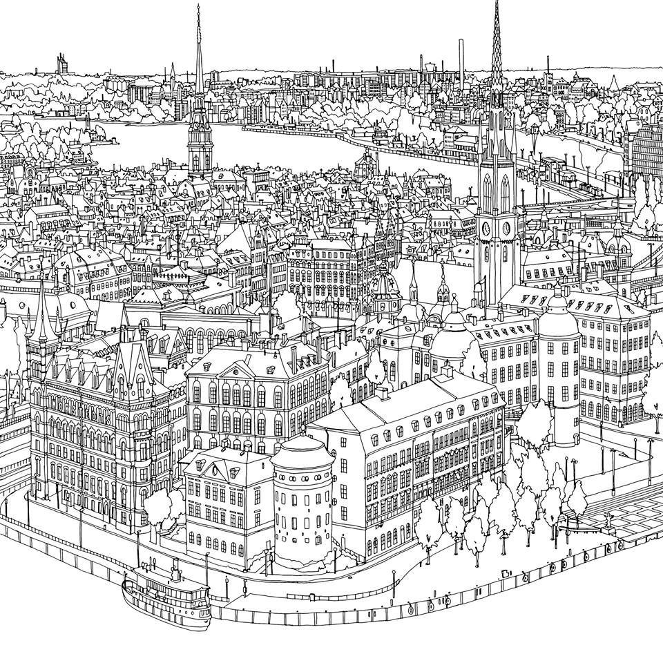City Coloring Page Fantastic Cities Coloring Book Coloring Books City Drawing