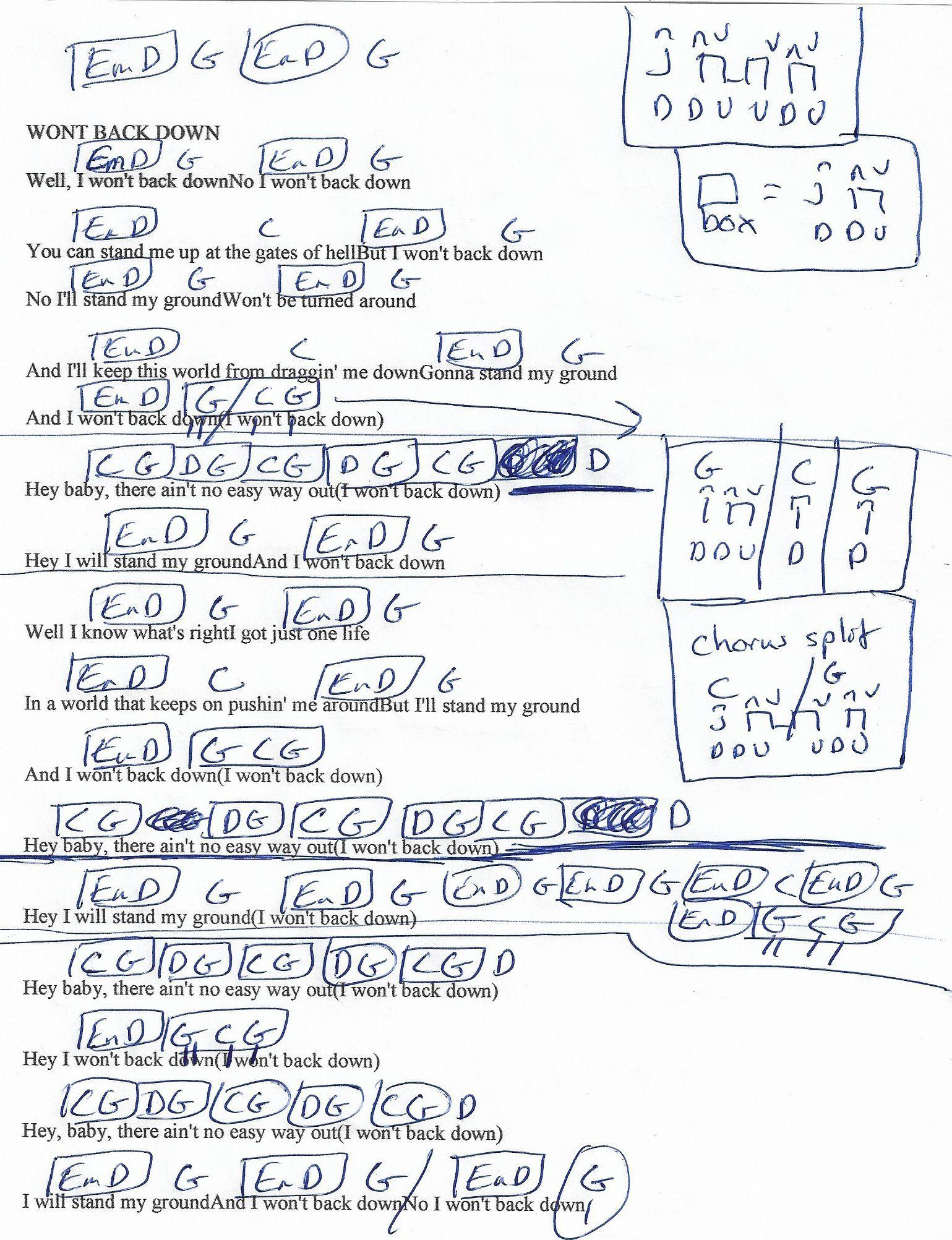 Won T Back Down Tom Petty Guitar Chord Chart