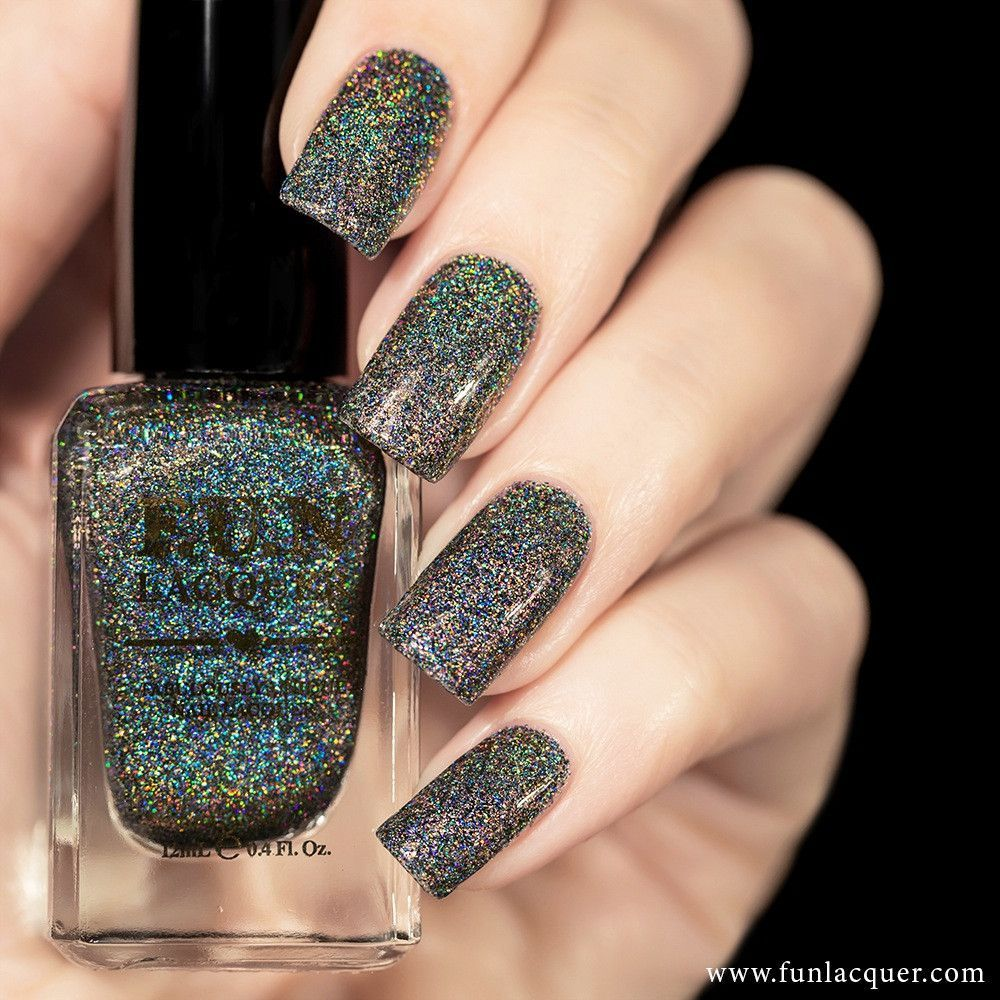 F.U.N Lacquer - Black Holo Witch Holo | Holographic nail polish ...