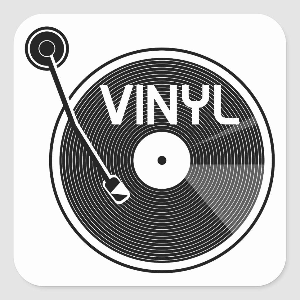 Vinyl Record Turntable Black And White Square Sticker Zazzle Com Vinyl Record Art Vinyl Records Black And White Stickers