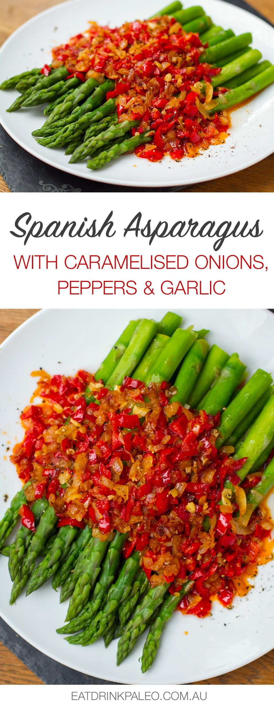Spanish Asparagus With Red Peppers, Onion & Garlic