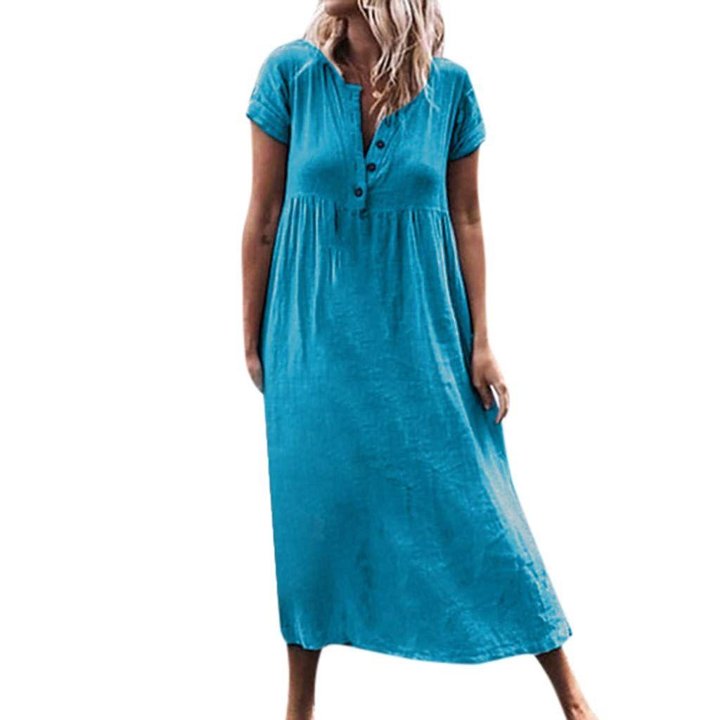 baiomawzh kleider damen sommer baumwolle und leinen streifen