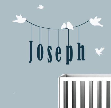 Children Wall Decal Monogram With Birds And Kids Name Hanging From - Monogram wall decal for kids