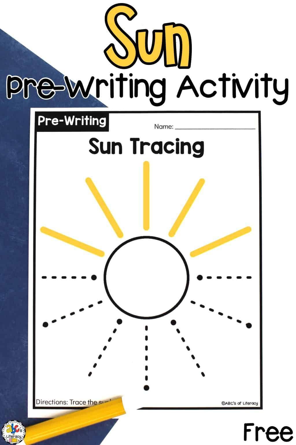 Sun Tracing Worksheets Pre Writing Activity For