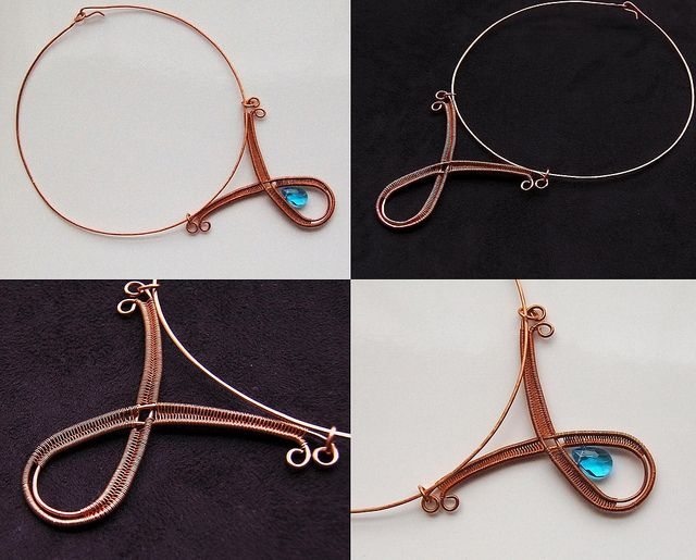 Copper collar necklace with and without aqua crystal, via Flickr.