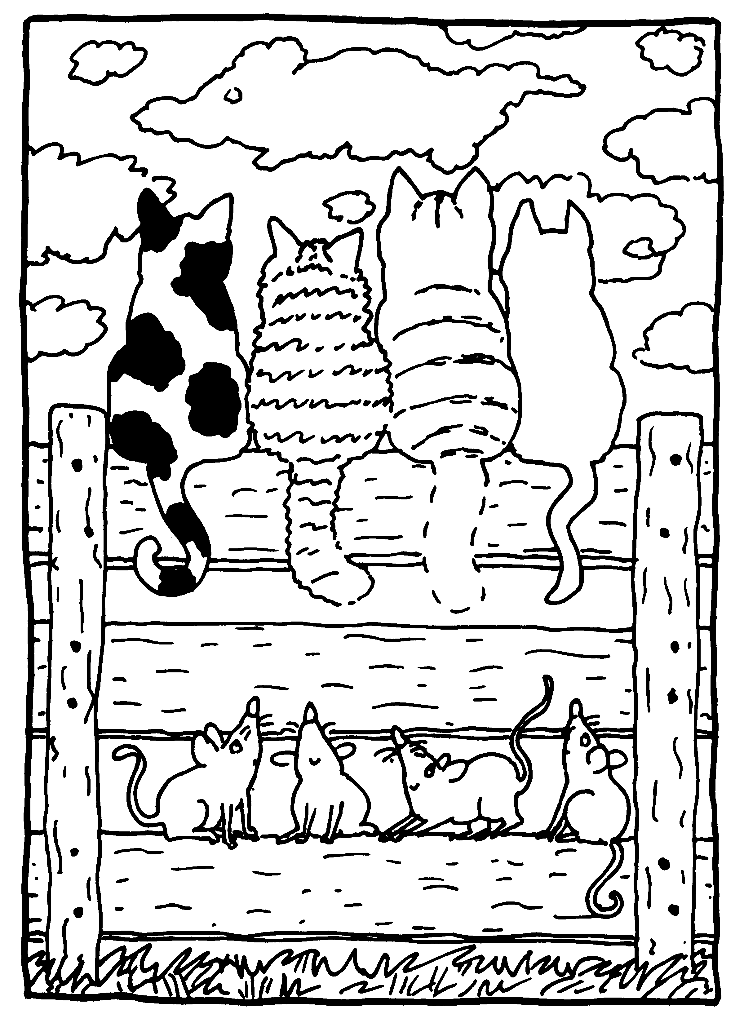 dikkie dik met de katten op het hek i