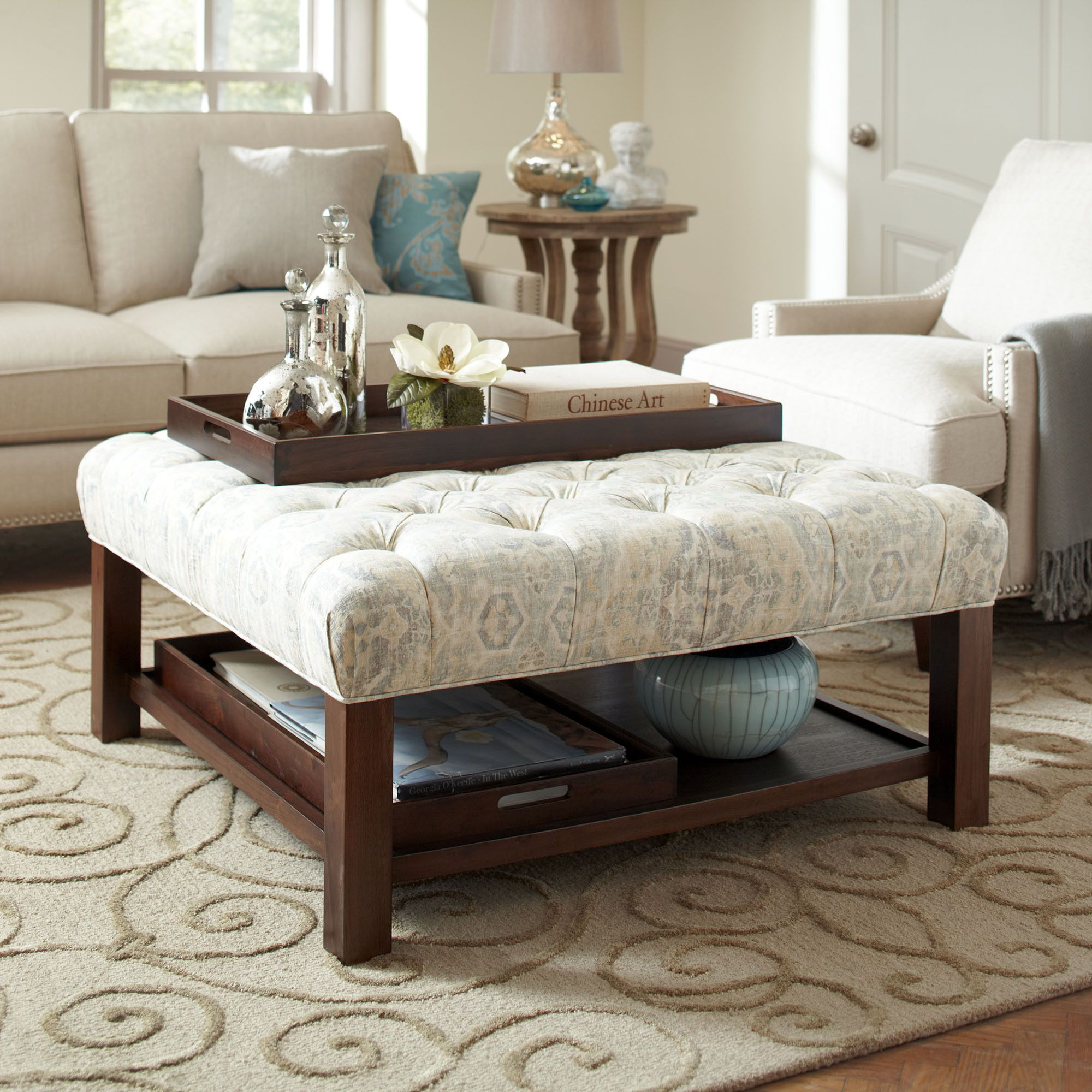 Everly Ottoman A Deep Tufted Cushion Upholstered In Soft Sunwashed Print Rounds Out The Square Structure Of While Set Matching