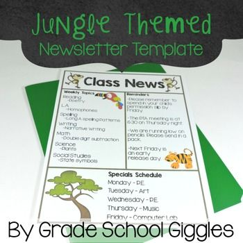 Jungle Theme Newsletter Template Newsletter templates, Jungle - school newsletter templates