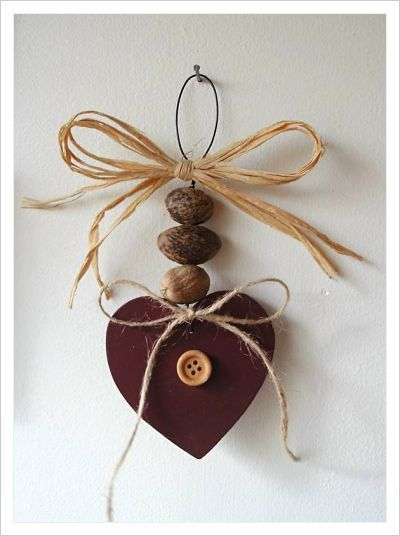 Nutmeg & wooden heart hanger ... I think cinnamon hearts could work here!