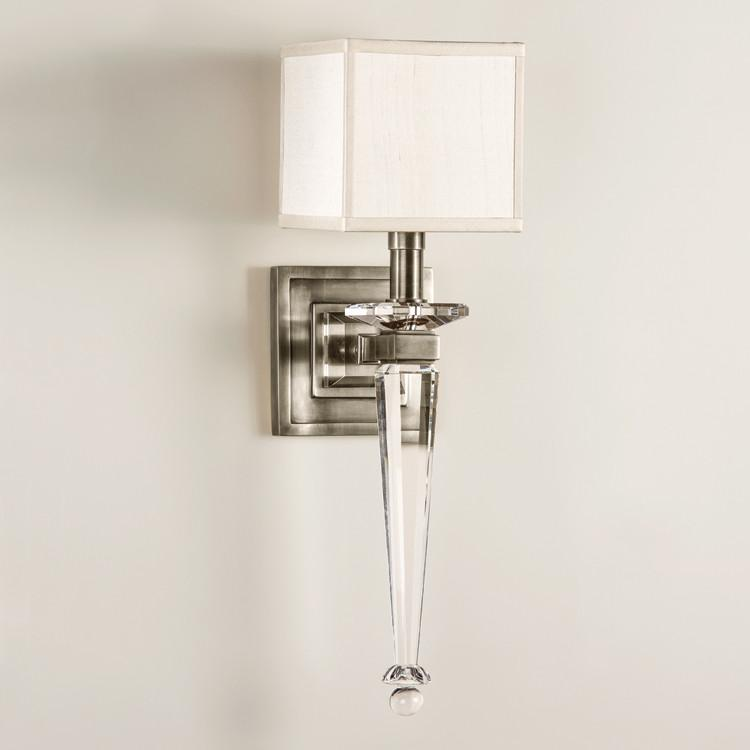 French Art Deco Crystal Sconce Crystal Sconce French Art And Art Deco - Bathroom sconce with fabric shade