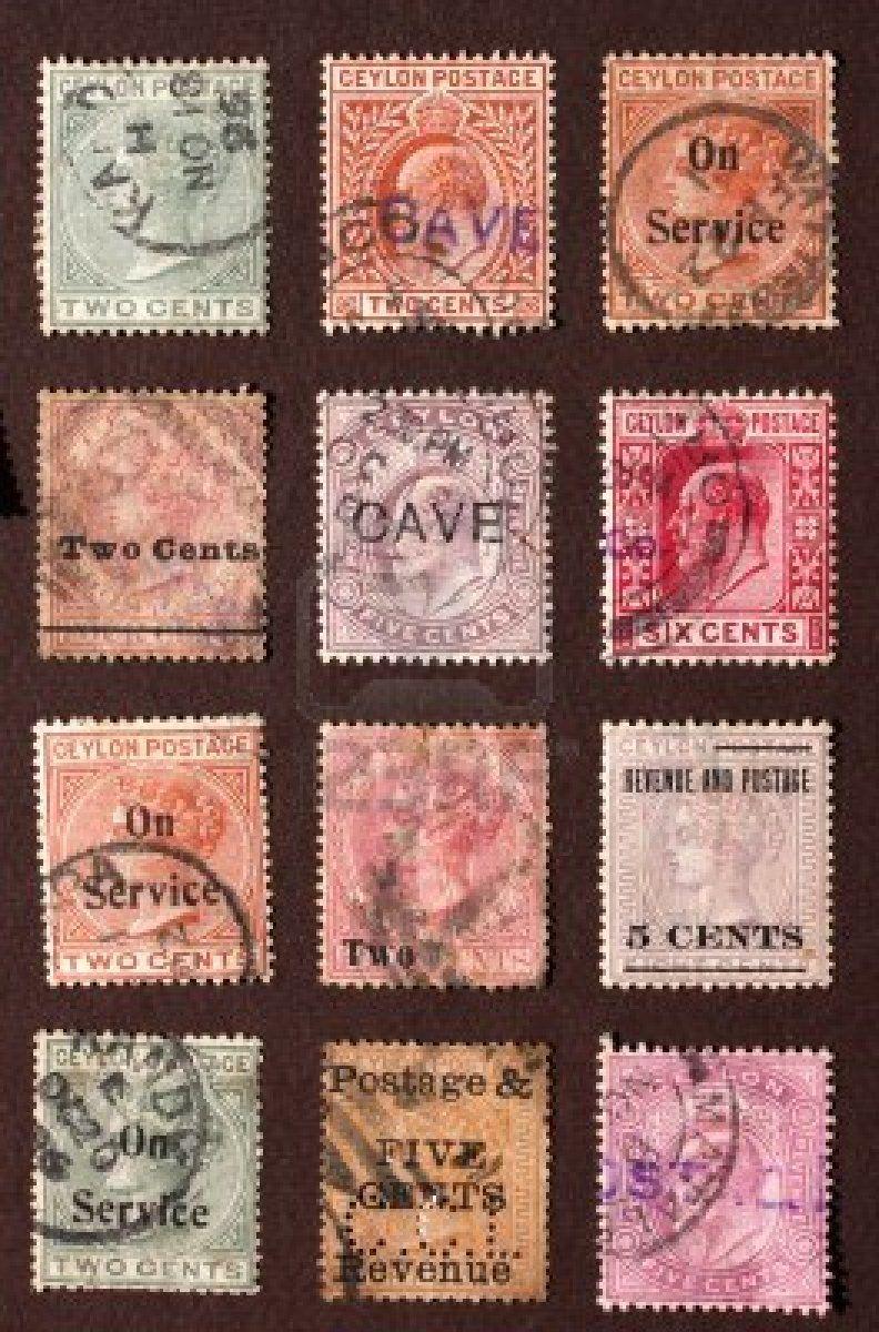 Close up de antiguos sellos postales antiguas  Foto de archivo