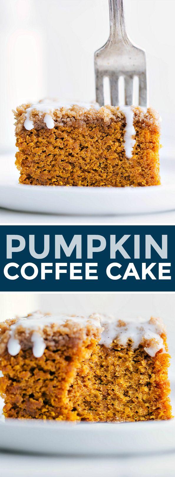 Moist, dense, and rich pumpkin coffee cake with a brown