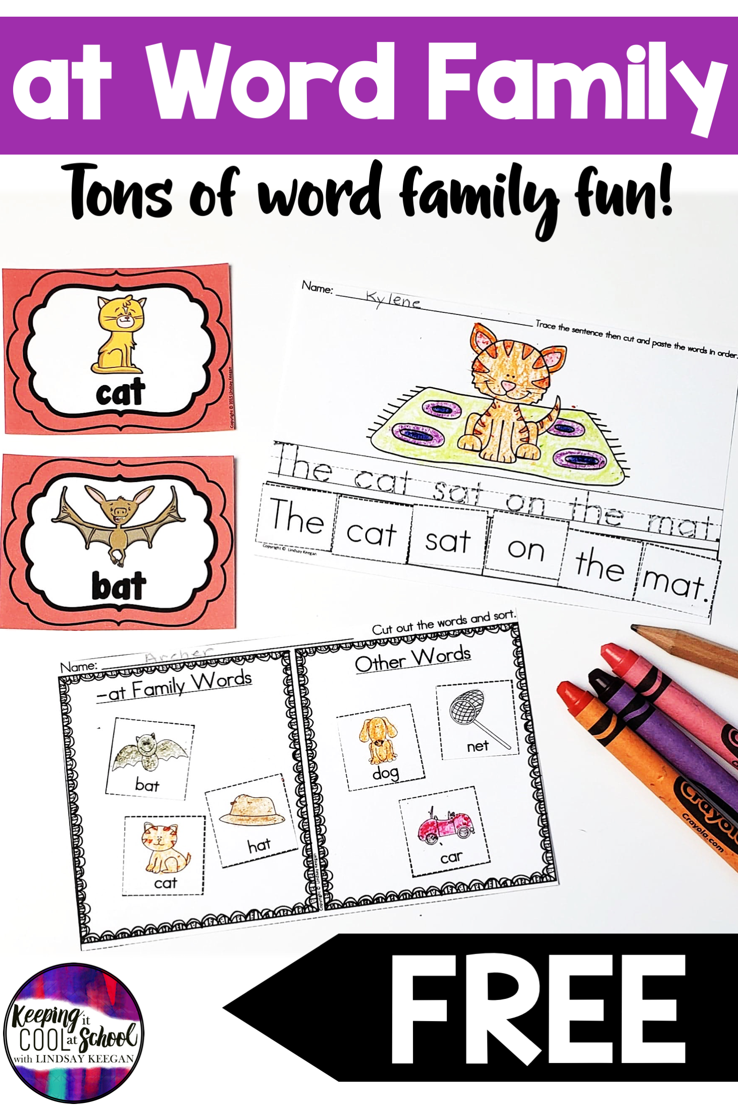 At Word Family Worksheets Freebie