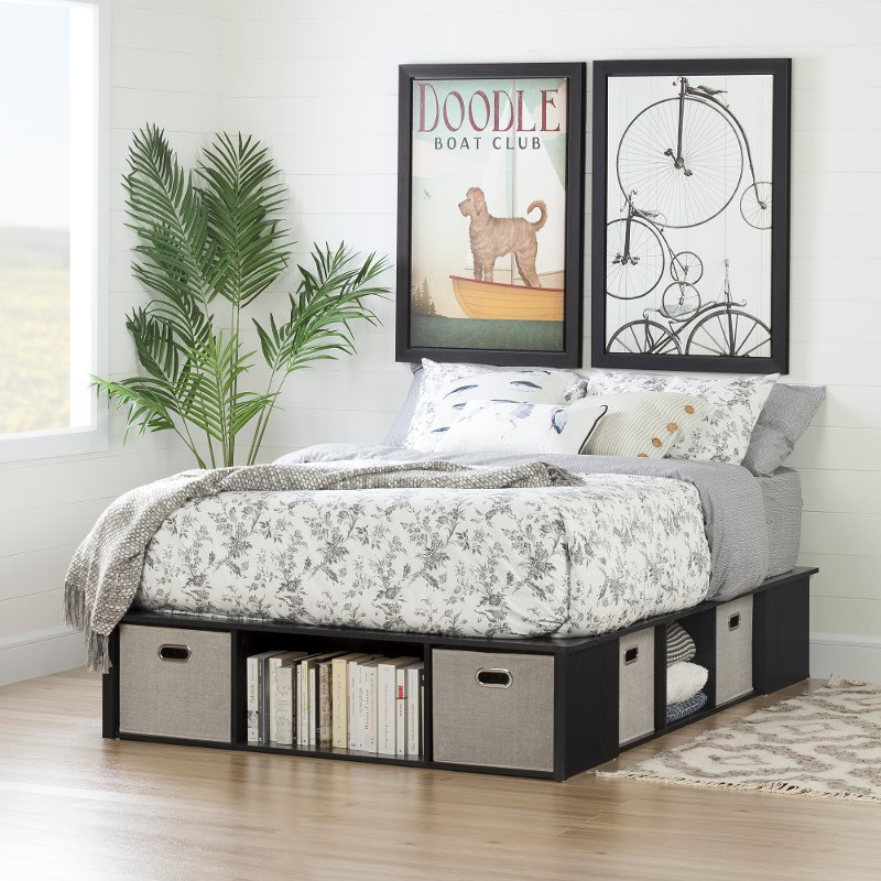 Black Oak Full Size Platform Bed With Storage And Baskets Flexible Rc Willey Furniture Sto In 2020 Full Size Storage Bed Platform Bed With Storage Diy Platform Bed Full size platform bed with drawers