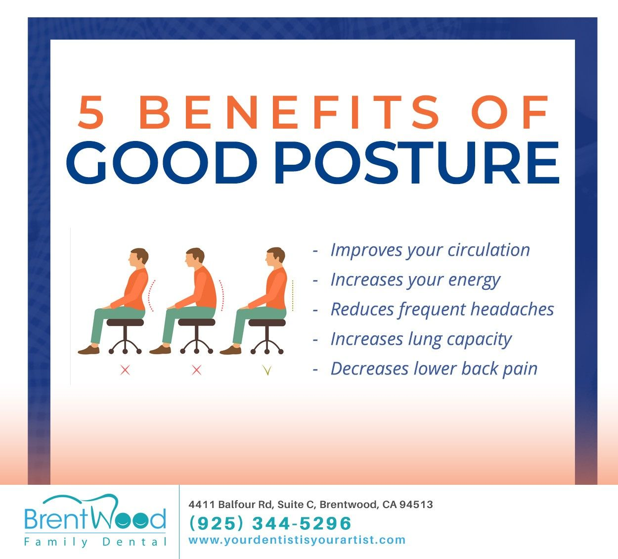 Did you know that by making a simple, pro-active effort to maintain good posture, you can help reduce the frequency of headaches without taking medication? #neckpainrelief #wellness #lifestylechanges #brentwood #CA #brentwoodfamilydental #weightmanagement #weightlosstransformations #nourishyourbody #nourishtoflourish #curvystyle #strongfirst #focusonyourself #gymtips #newmonthnewgoals #tryingnewthings #keepmotivating #staytruetoyourself #diettips #fitnesstraining #lifestylechanges #tryingmybest