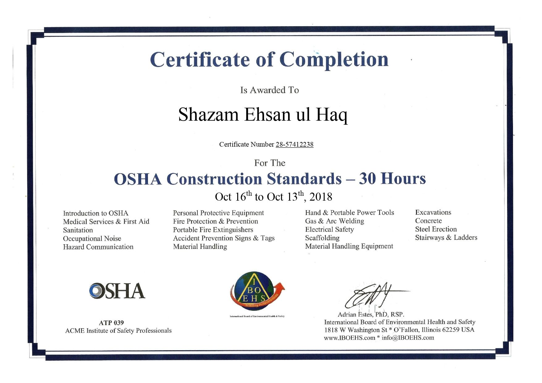 iboehs 30 hour Occupational health and safety, Safety