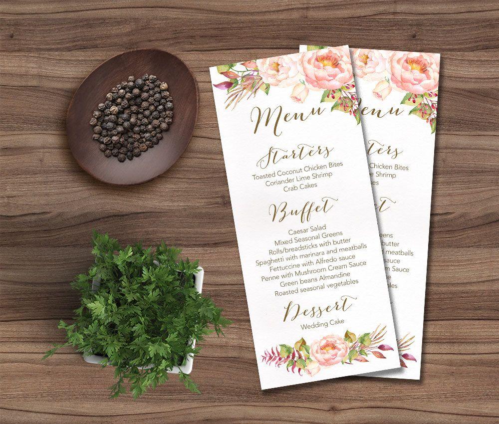 Printable Wedding Menu, Floral Wedding Menu Card Printable, Rustic ...
