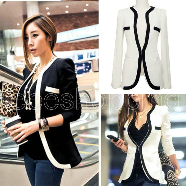 Q554 Fashion New Women Ladies Long Sleeve V Neck Black White Blazer