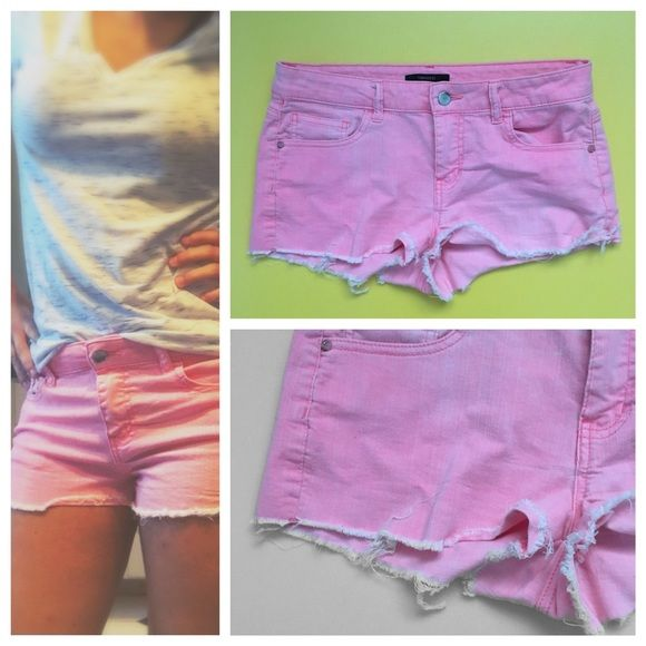 Pink Booty shorts Hot highlighter pink color, from forever 21. Perfect for the summer! Forever 21 Shorts Jean Shorts