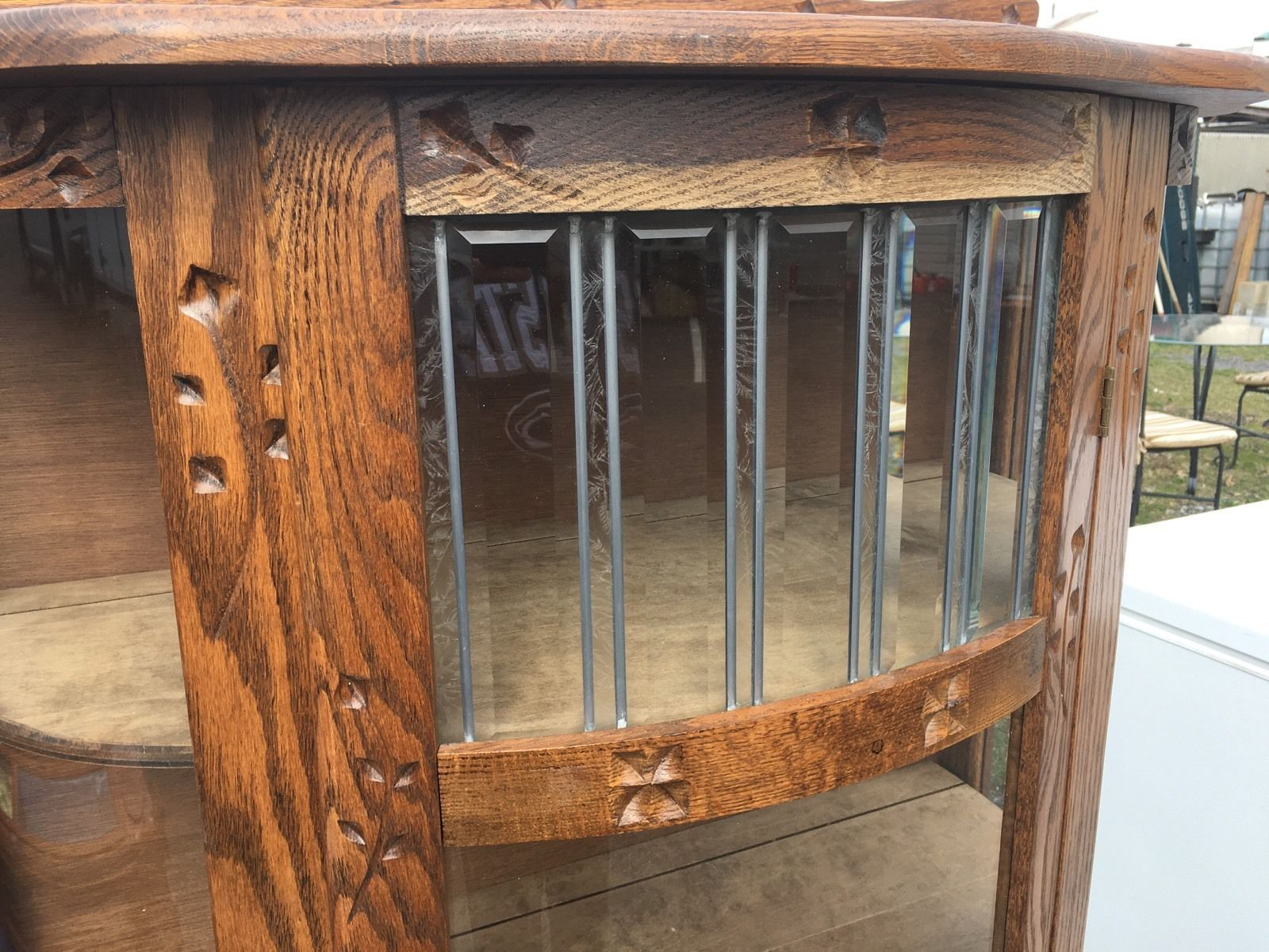 Antique Oak Bow Front Clawfoot Carved Wood Stained Glass Curio