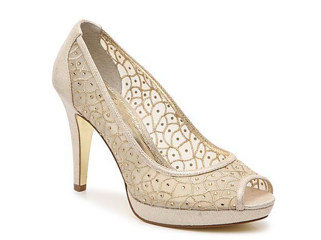 buy discount Golda' Peep Toe Crystal Embellished Platform Pump Womens Nude Fabric Adrianna Papell Womens Heels
