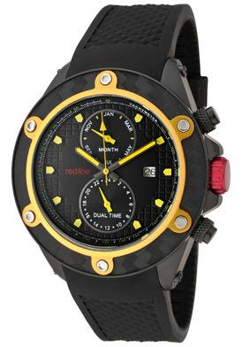 Red Line Watch 10105 Men's Carbon Brake Dual Time Gold Tone Top