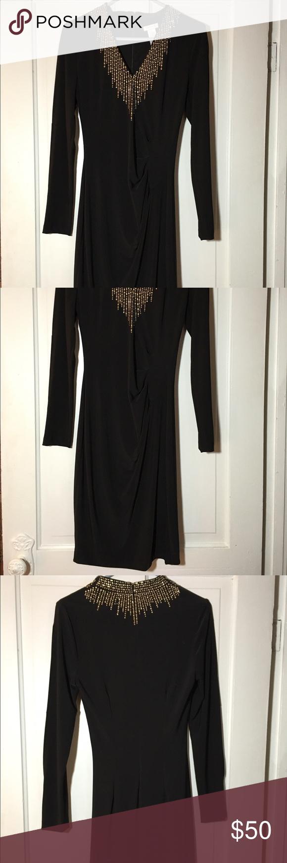 Cache Black Dress Golden Accents Size 6 Black Dress With Sleeves Clothes Design Dresses [ 1740 x 580 Pixel ]