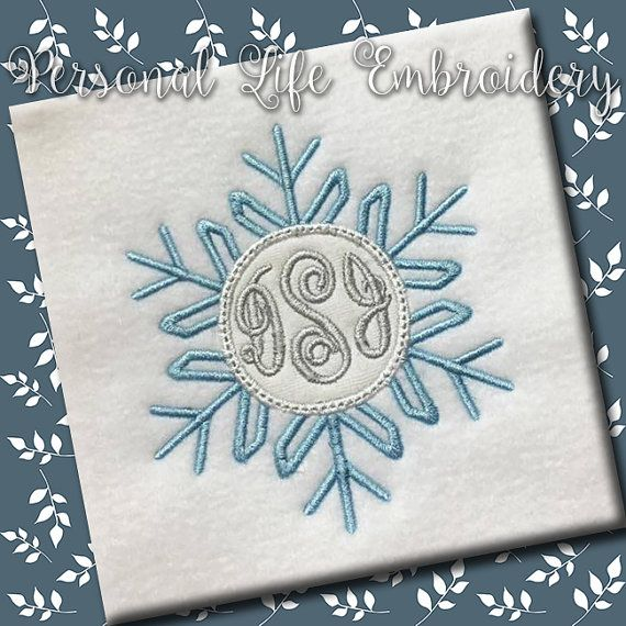 Snowflake Monogram Frame Sparkle Winter Christmas by PersonalLife